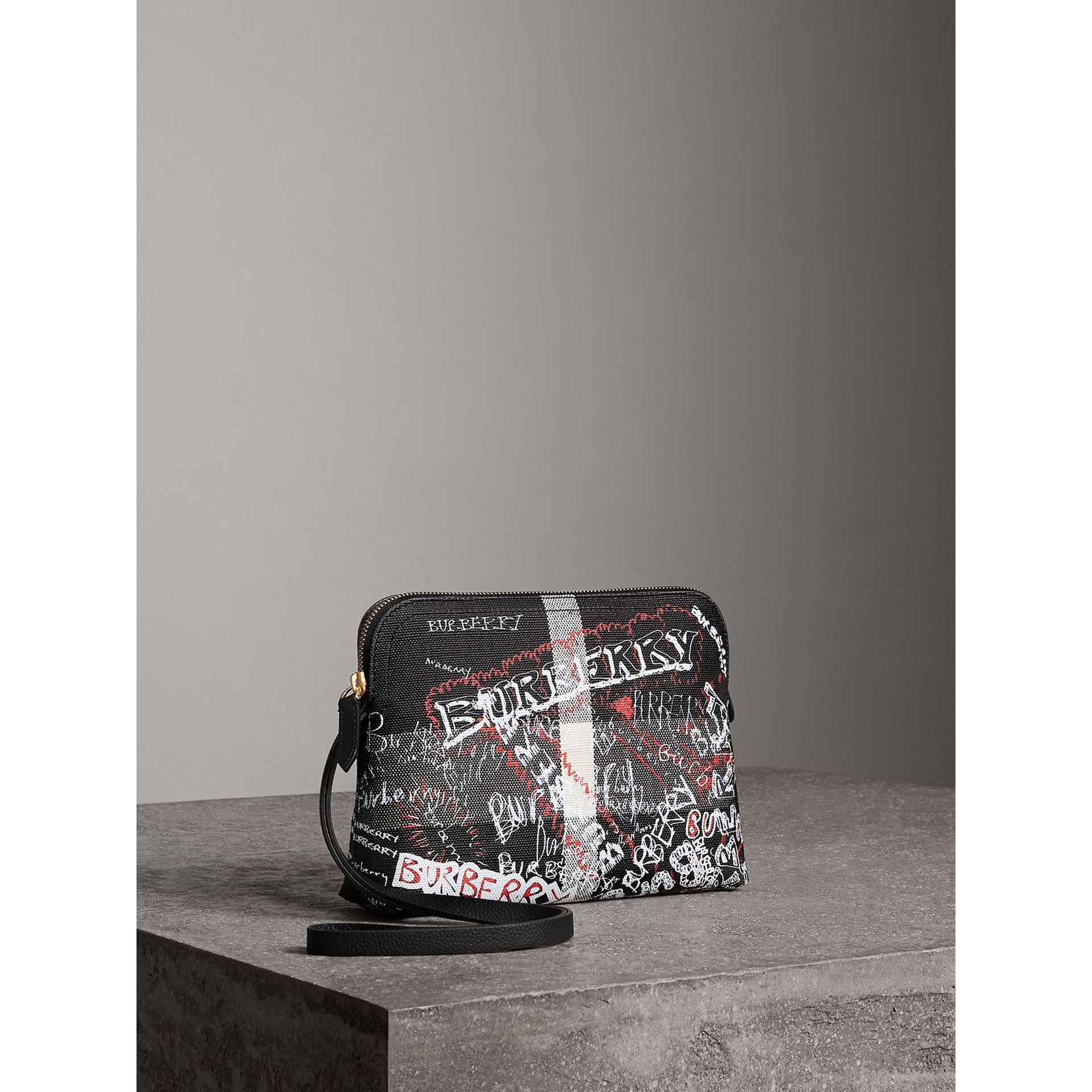 Large Zip-top Doodle Print Coated Canvas Check Pouch in Black/white - Women | Burberry United Kingdom - gallery image 5