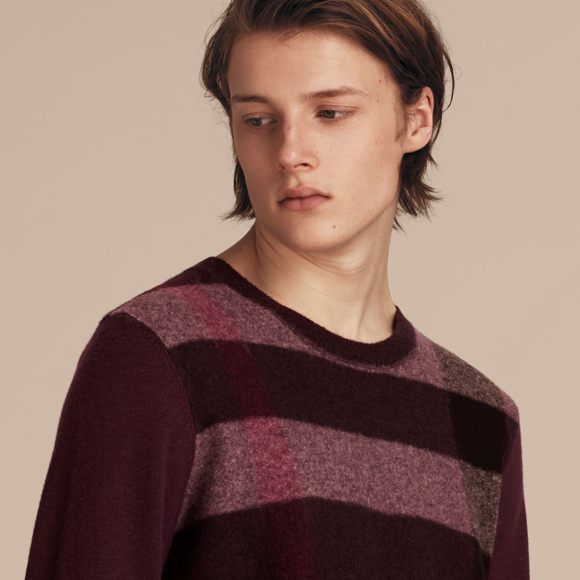 Graphic Check Cashmere Cotton Sweater in Burgundy Red - gallery image 5