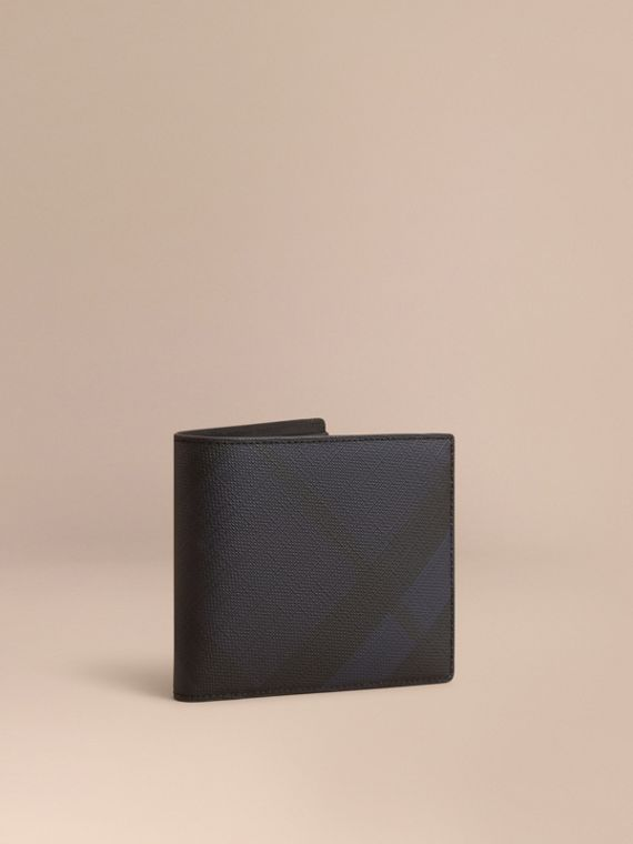 London Check International Bifold Wallet in Navy/black - Men | Burberry