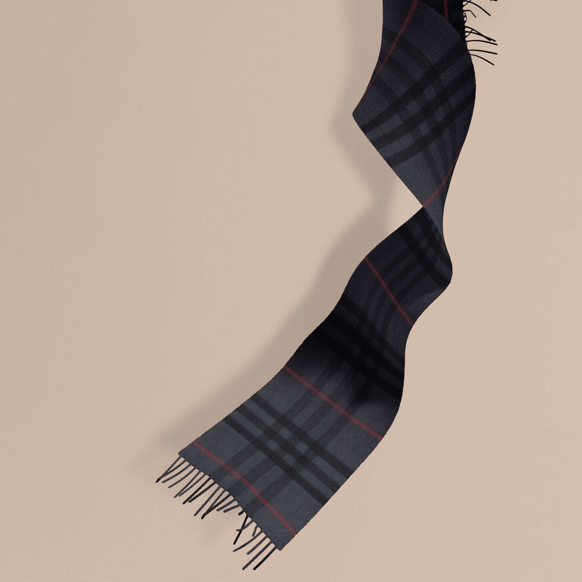 The Mini Classic Cashmere Scarf in Check in Charcoal | Burberry Australia - gallery image 1