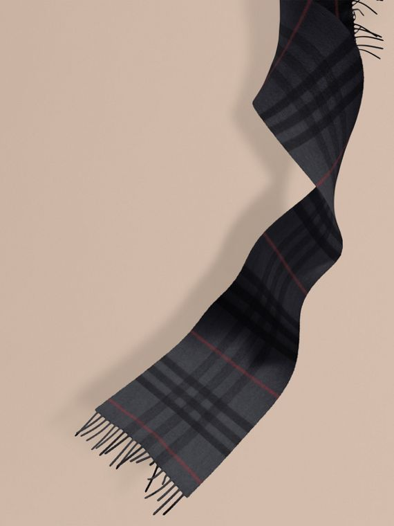 The Mini Classic Cashmere Scarf in Check in Charcoal | Burberry