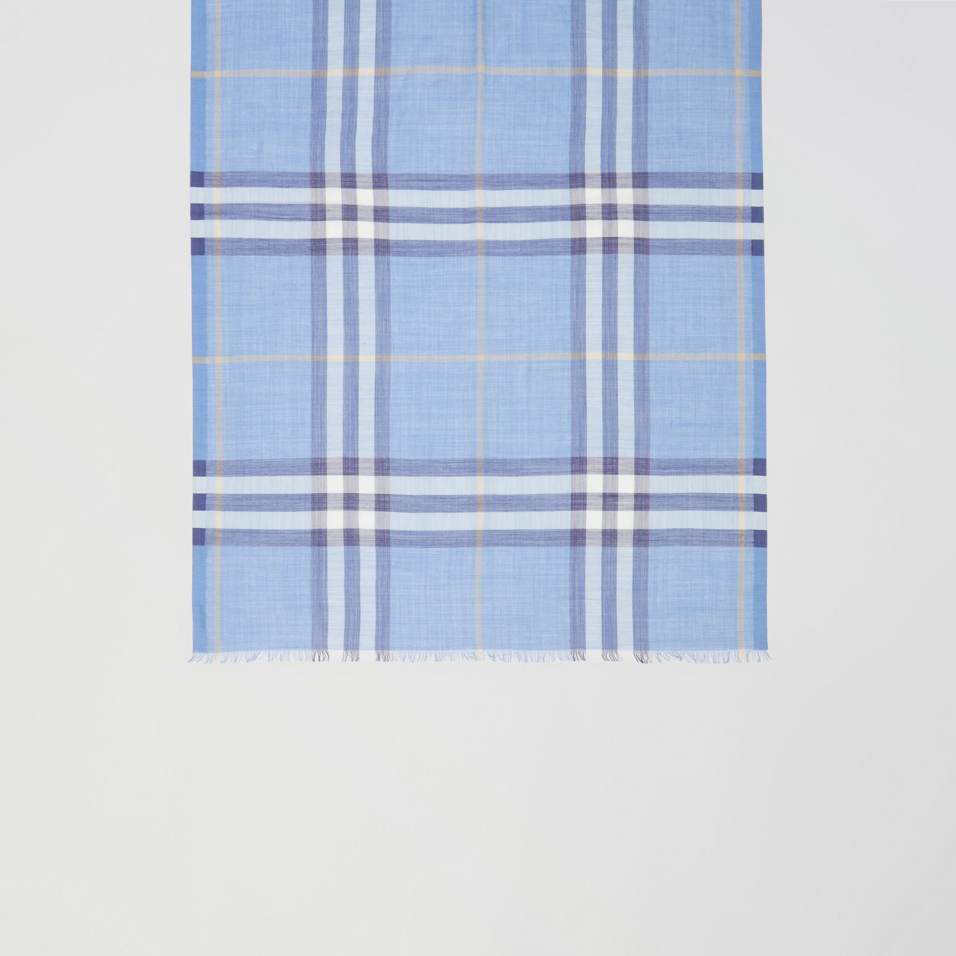 Lightweight Check Wool Silk Scarf in English Bluebell | Burberry United States - gallery image 2
