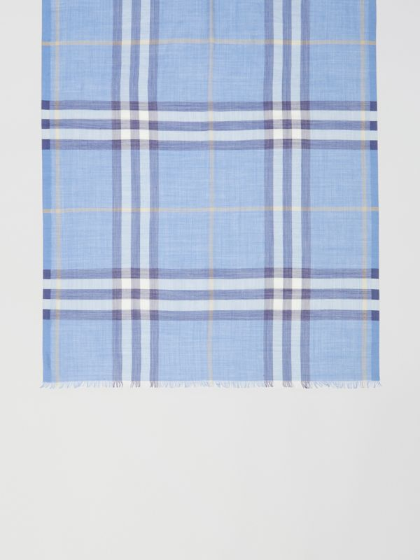 Lightweight Check Wool Silk Scarf in English Bluebell | Burberry United States - cell image 2