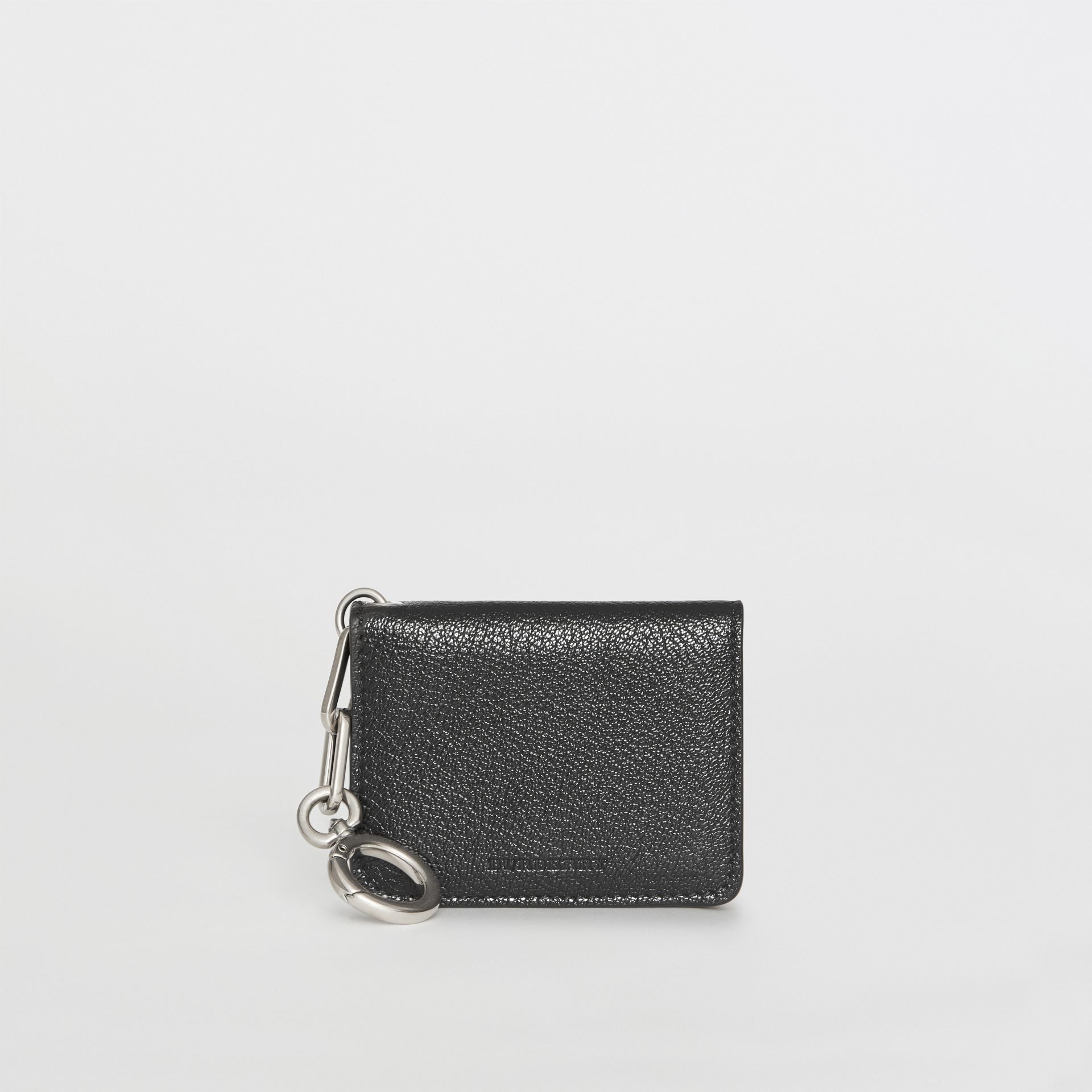 Link Detail Leather ID Card Case Charm in Black | Burberry - gallery image 3