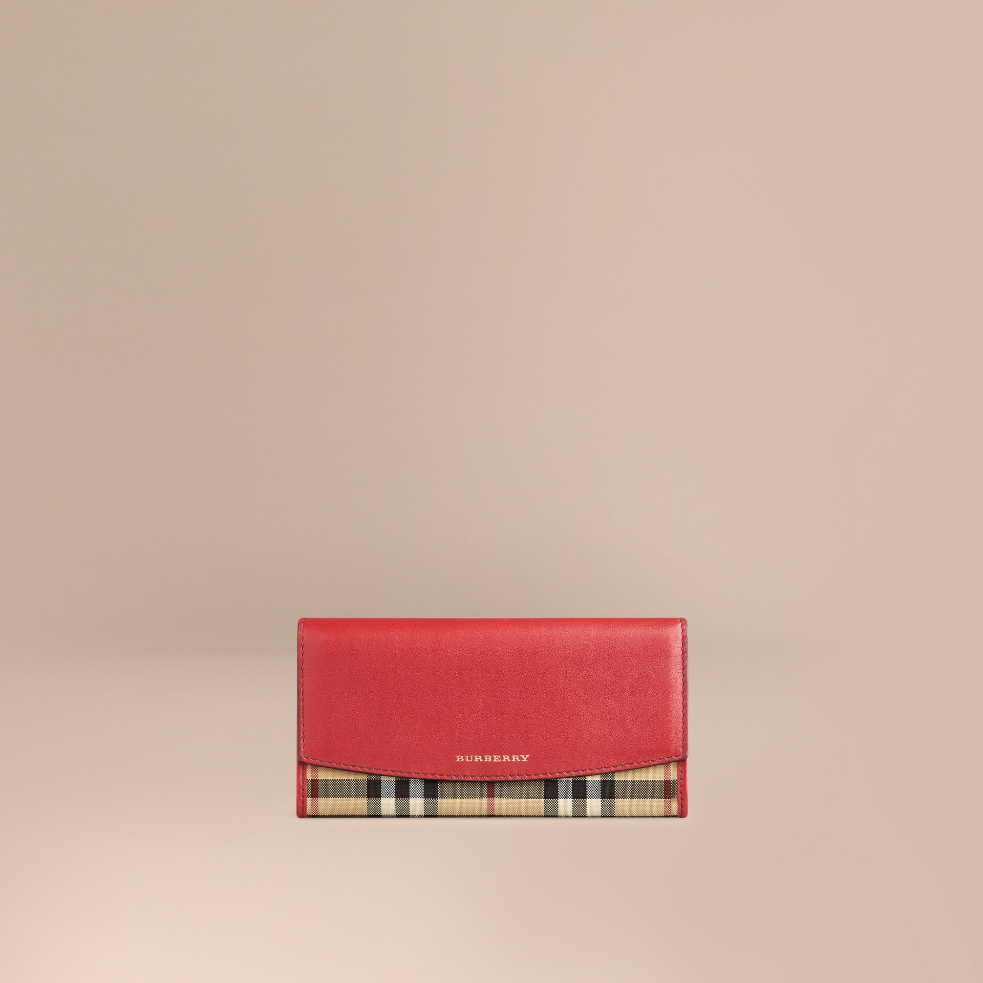 Horseferry Check and Leather Continental Wallet in Parade Red - Women | Burberry - gallery image 1