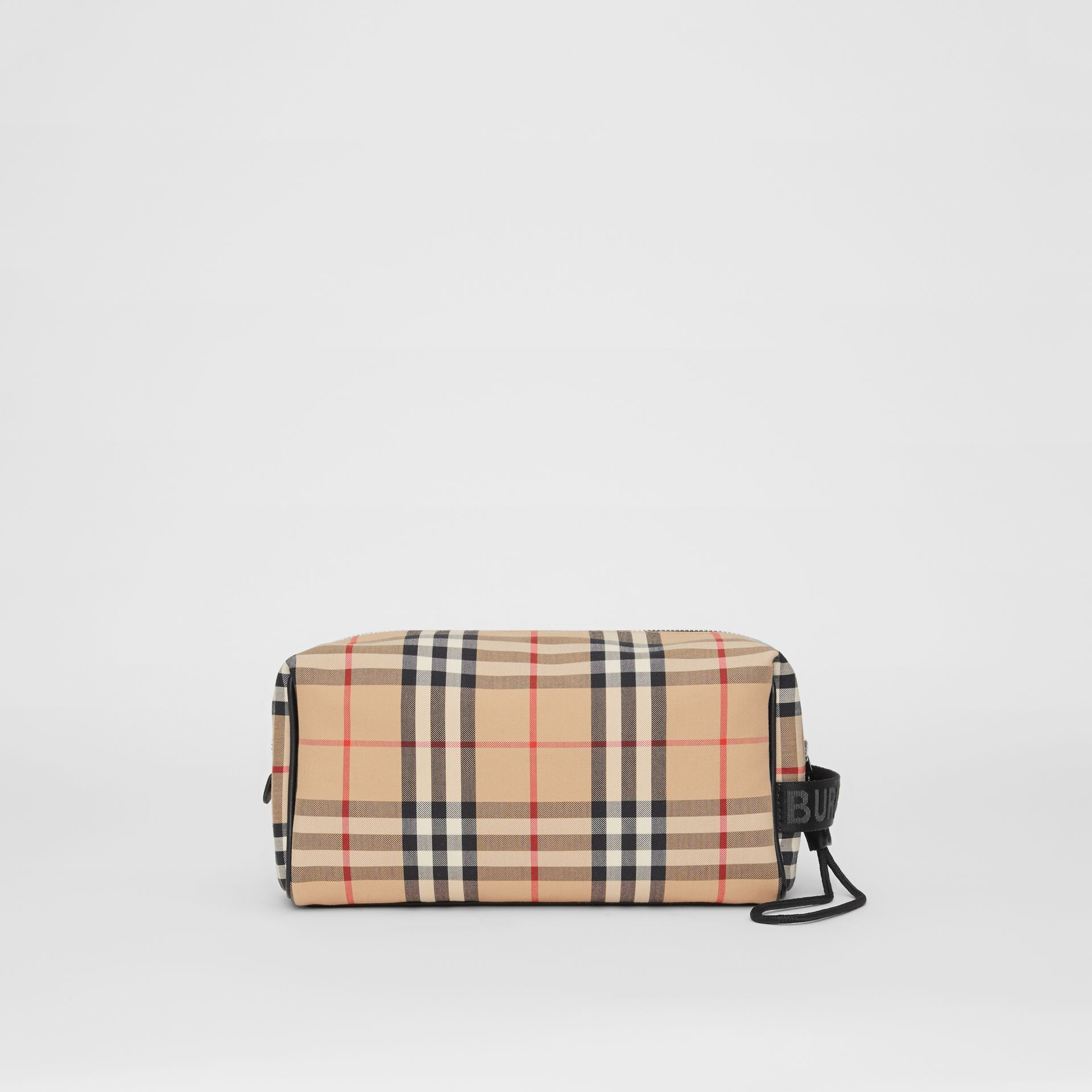 Vintage Check and Leather Pouch in Archive Beige | Burberry Hong Kong S.A.R - gallery image 0