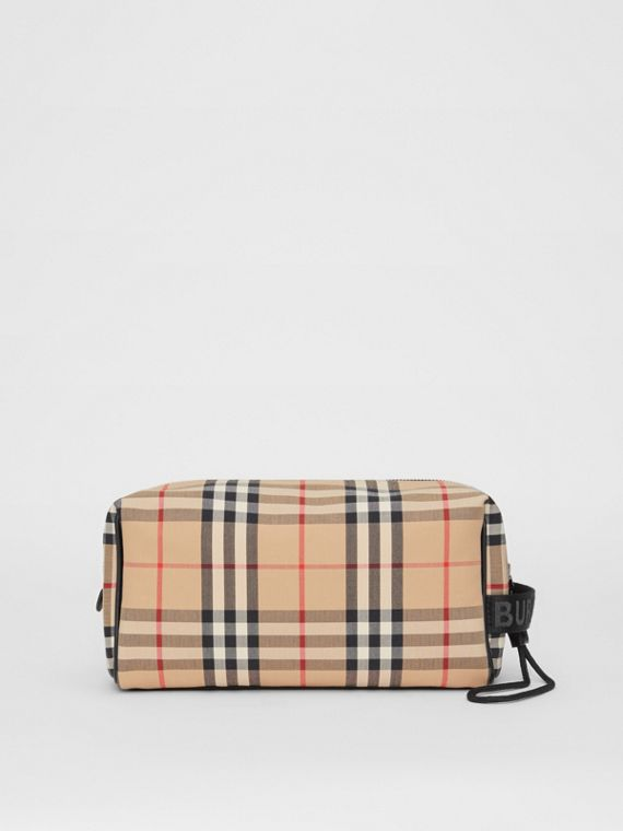 Trousse con motivo Vintage check e finiture in pelle (Beige Archivio)