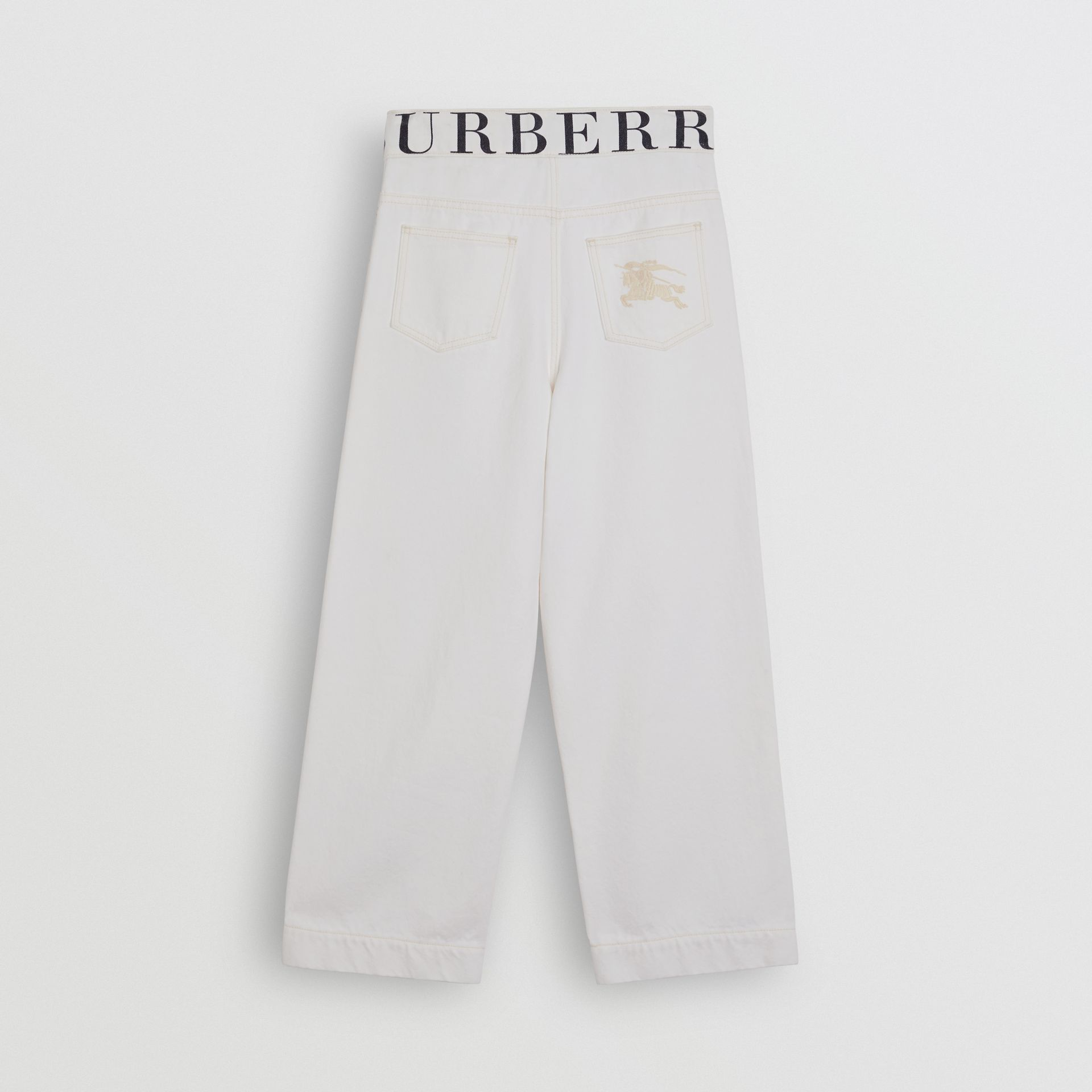 Relaxed Fit Logo Print Jeans in Natural White - Children | Burberry - gallery image 3