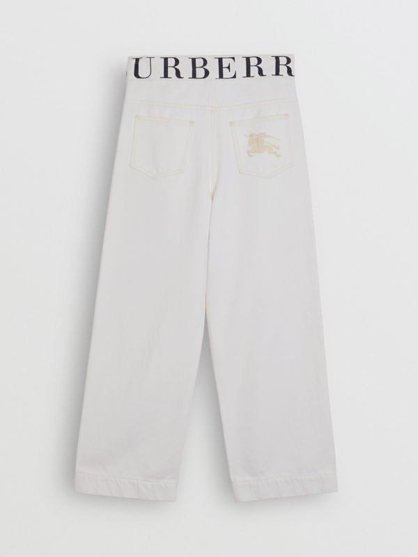 Relaxed Fit Logo Print Jeans in Natural White - Children | Burberry - cell image 3