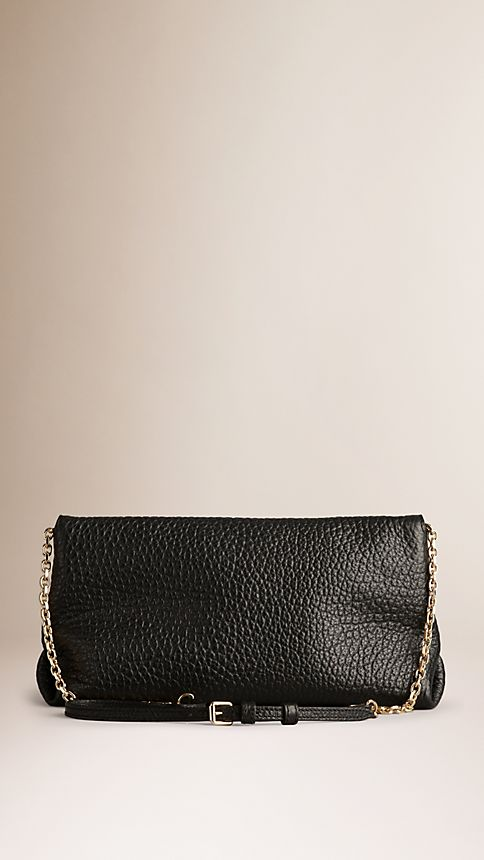 Black Medium Signature Grain Leather Clutch Bag - Image 3