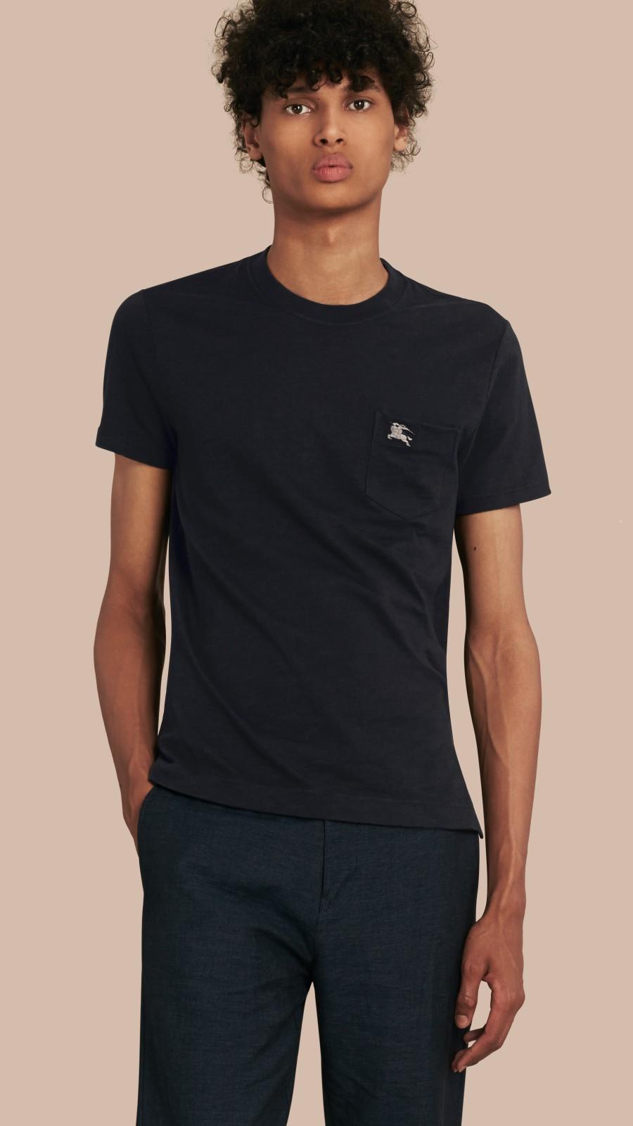 Black Slub Jersey Double Dyed T-Shirt Black - Image 1