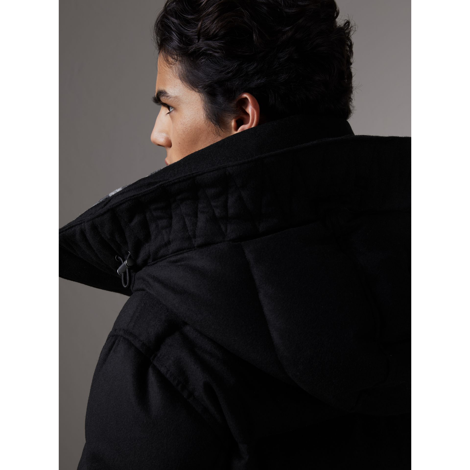 Detachable Fur Trim Cashmere Puffer Jacket in Black - Men | Burberry - gallery image 5