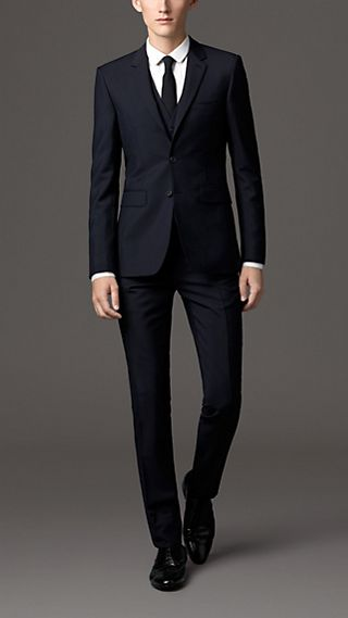 Slim Fit Wool Mohair Part-canvas Three-Piece Suit