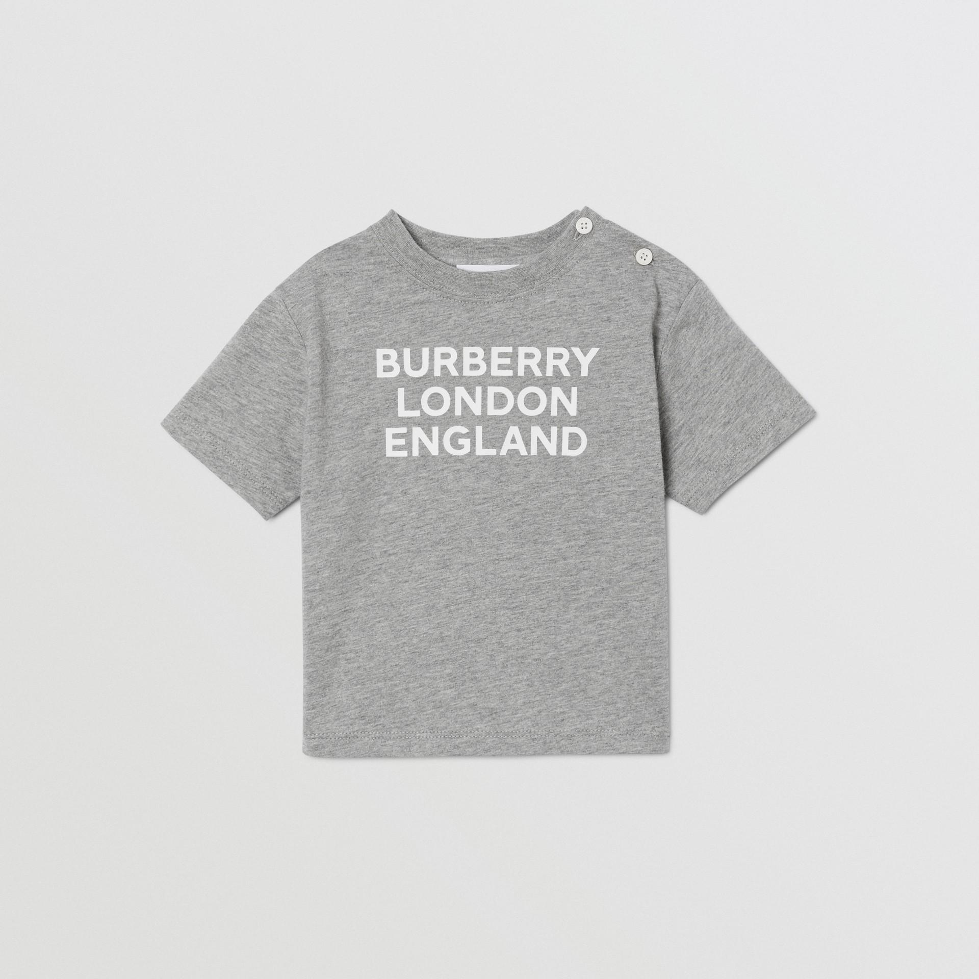 Logo Print Cotton T-shirt in Grey Melange - Children   Burberry United Kingdom - gallery image 0