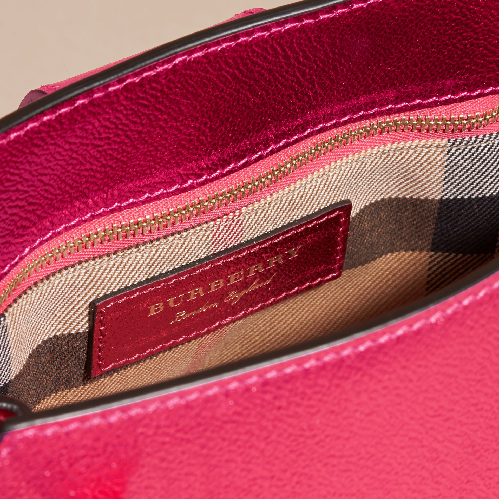 The Small Buckle Tote in Metallic Leather Bright Pink - gallery image 6