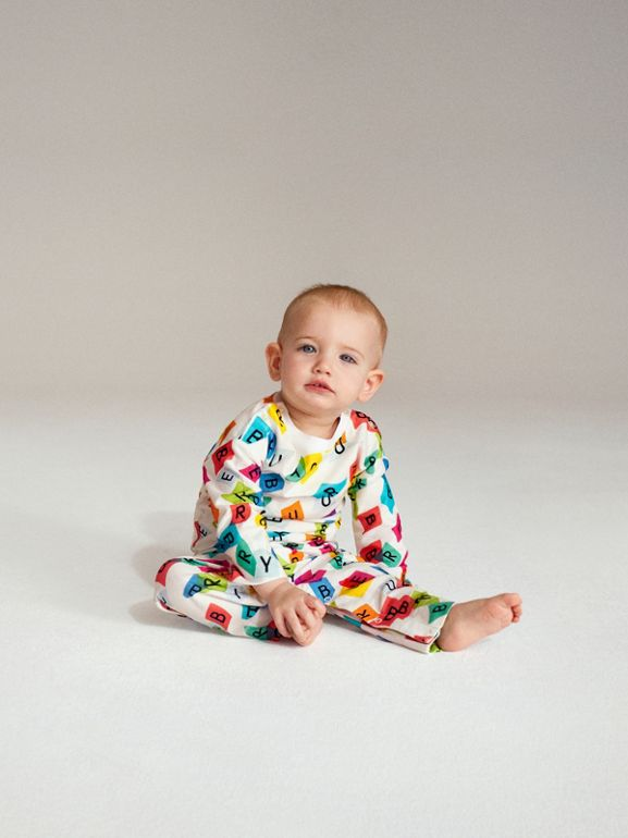 Confetti Letter Print Cotton Jumpsuit in White - Children | Burberry - cell image 1