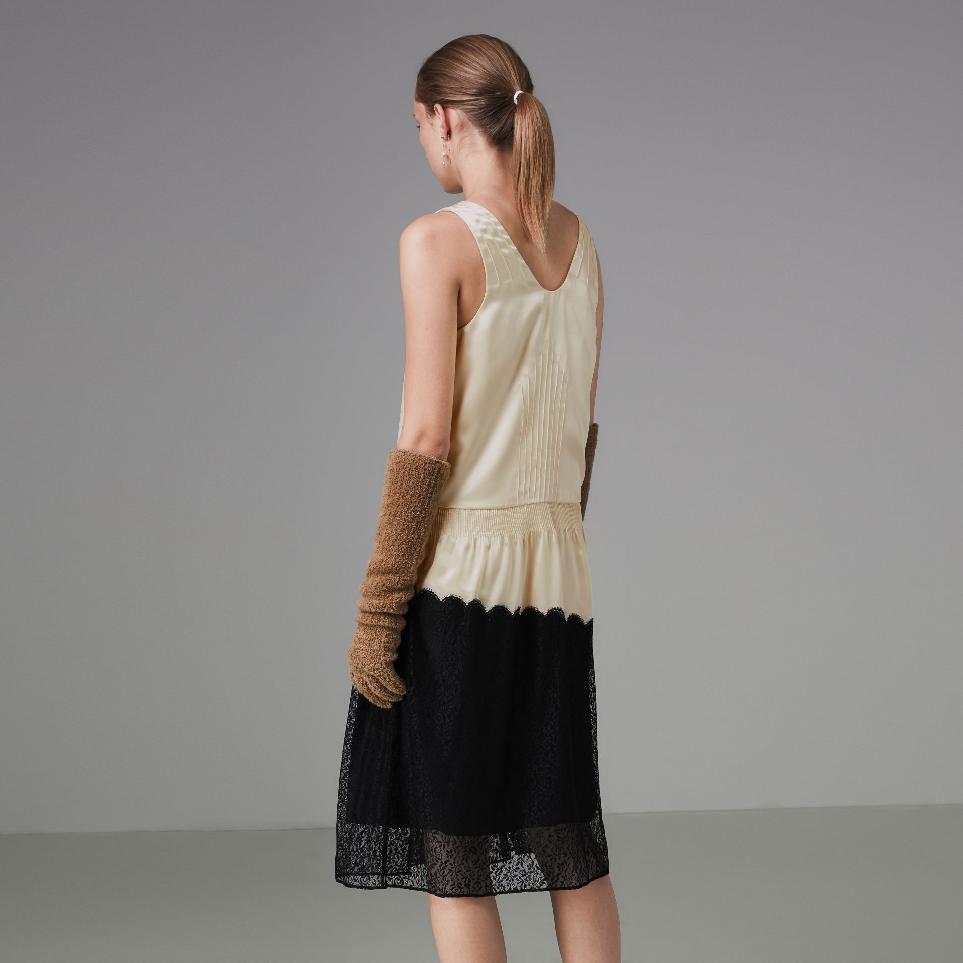 Silk Satin and Lace Sleeveless Dress in Cream - Women | Burberry - gallery image 2