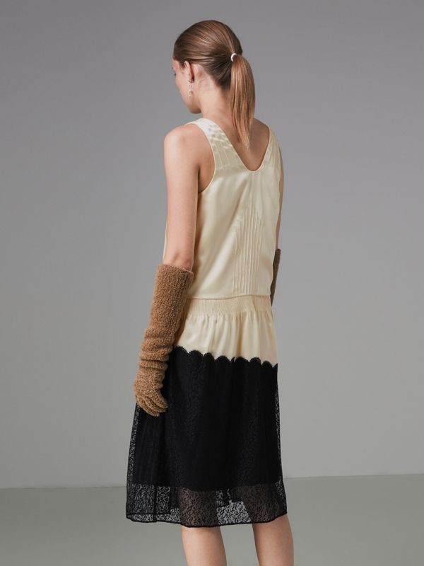 Silk Satin and Lace Sleeveless Dress in Cream - Women | Burberry - cell image 2