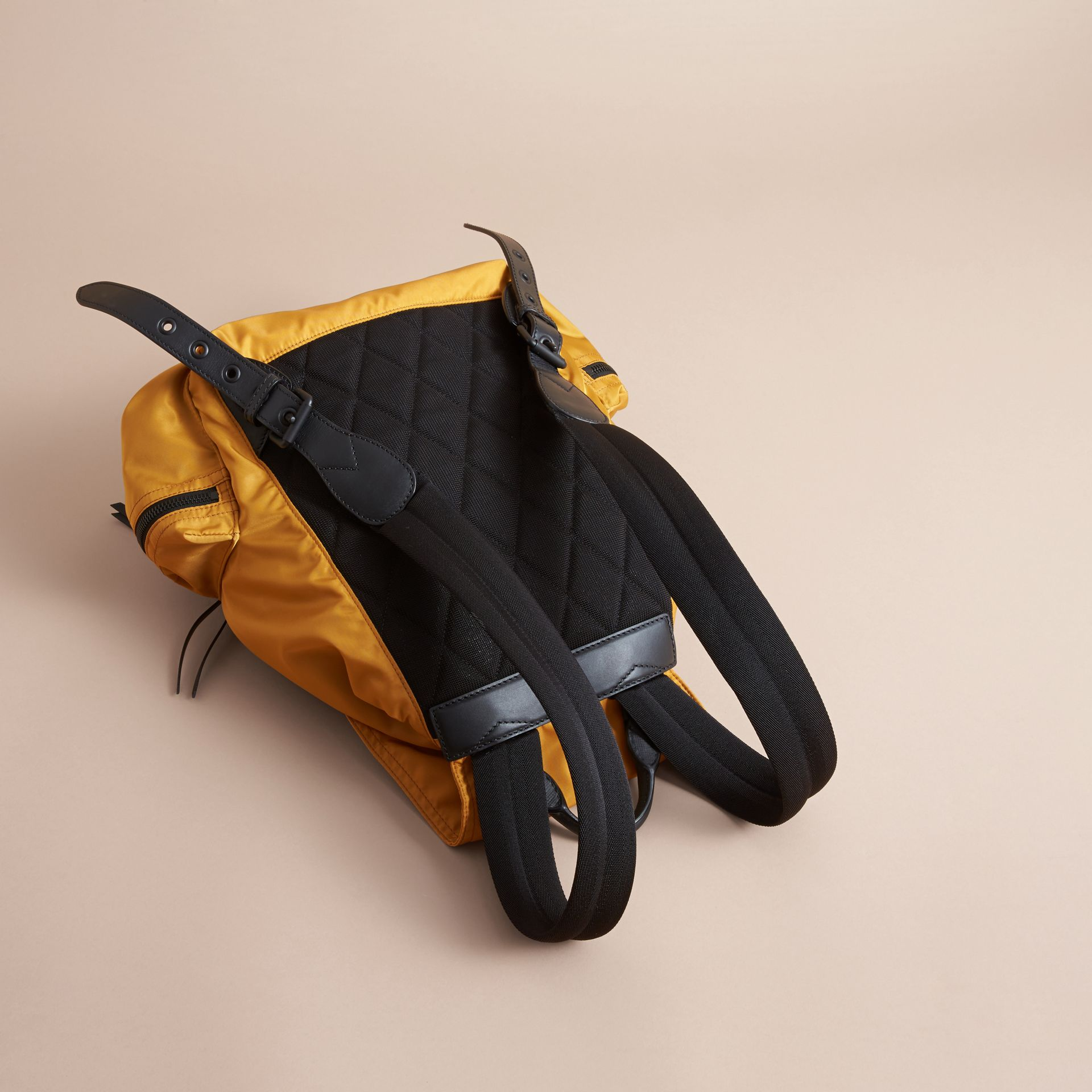 The Large Rucksack in Technical Nylon and Leather in Ochre Yellow - gallery image 4