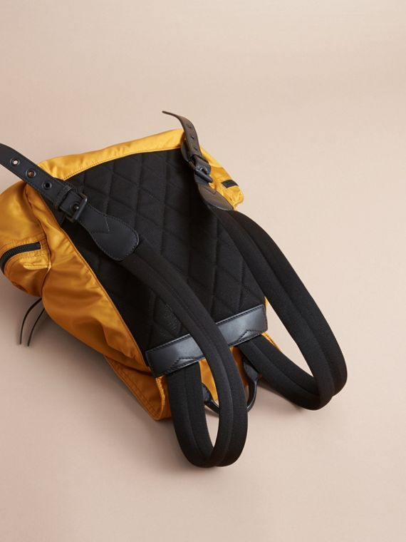 The Large Rucksack in Technical Nylon and Leather in Ochre Yellow - cell image 3