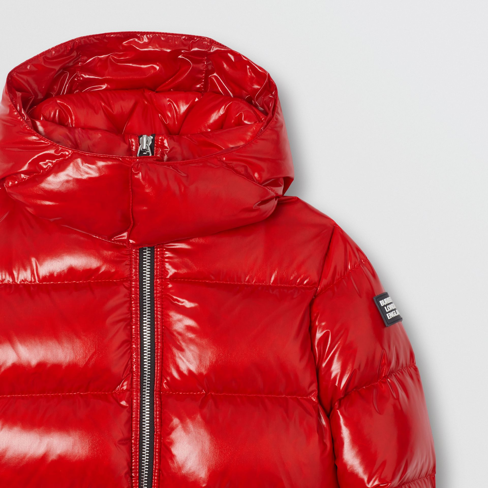 Icon Stripe Detail Down-filled Hooded Puffer Jacket in Bright Red | Burberry - gallery image 5