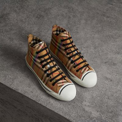 Hi- Top Sneakers In Vintage Check Canvas, Antique Yellow