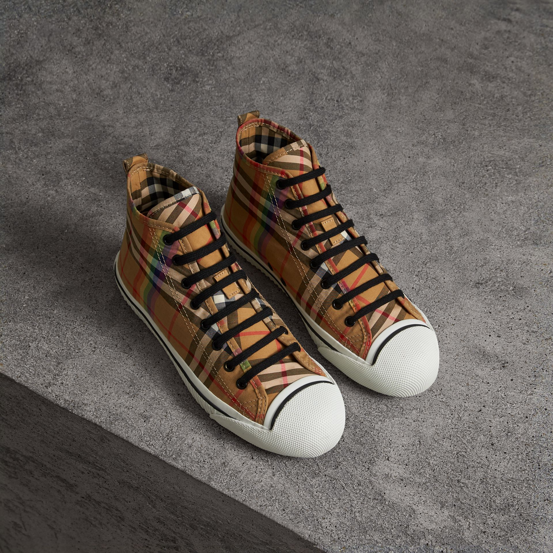 Rainbow Vintage Check High-top Sneakers in Antique Yellow | Burberry United Kingdom - gallery image 0