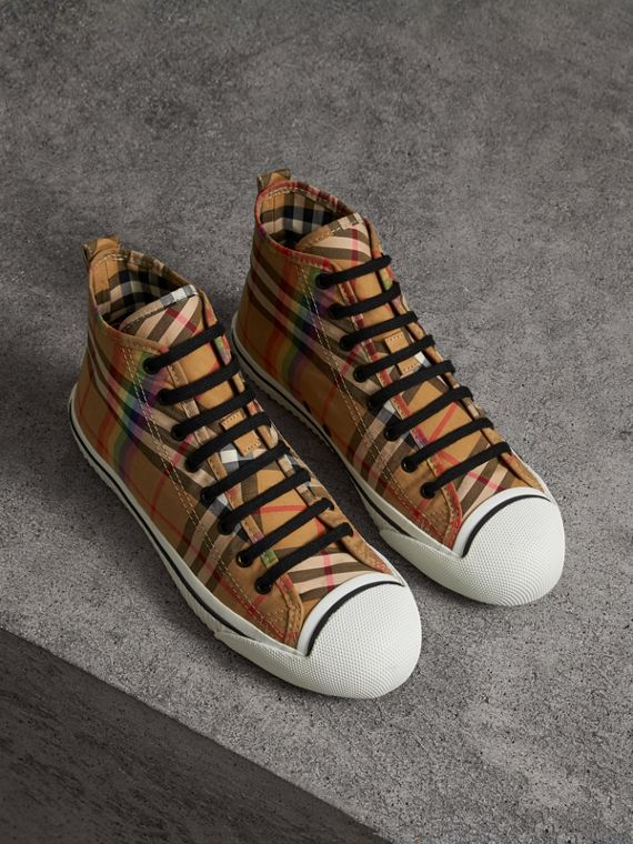 Sneakers montantes à motif Rainbow Vintage check (Jaune Antique)