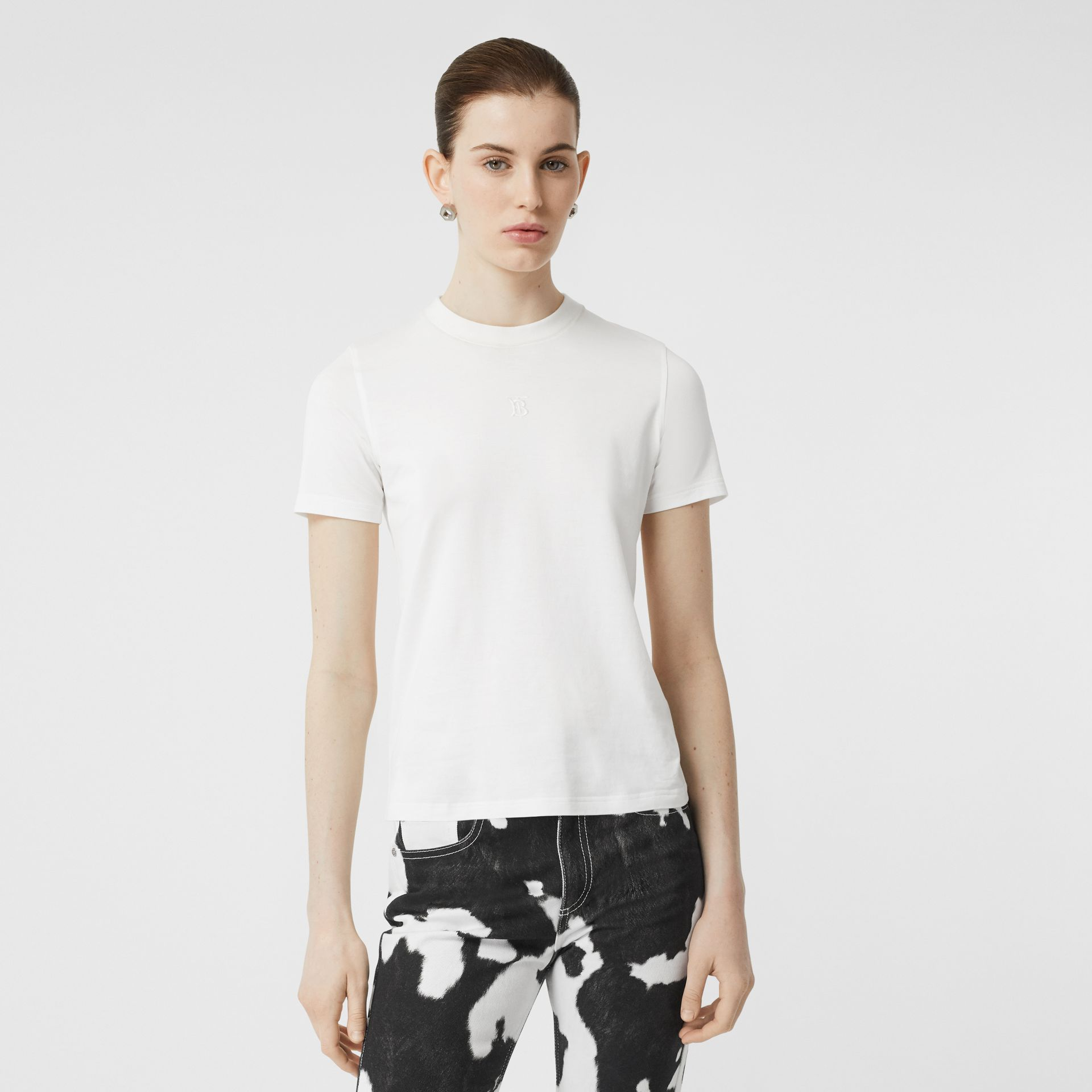 Monogram Motif Cotton T-shirt in White - Women | Burberry - gallery image 4