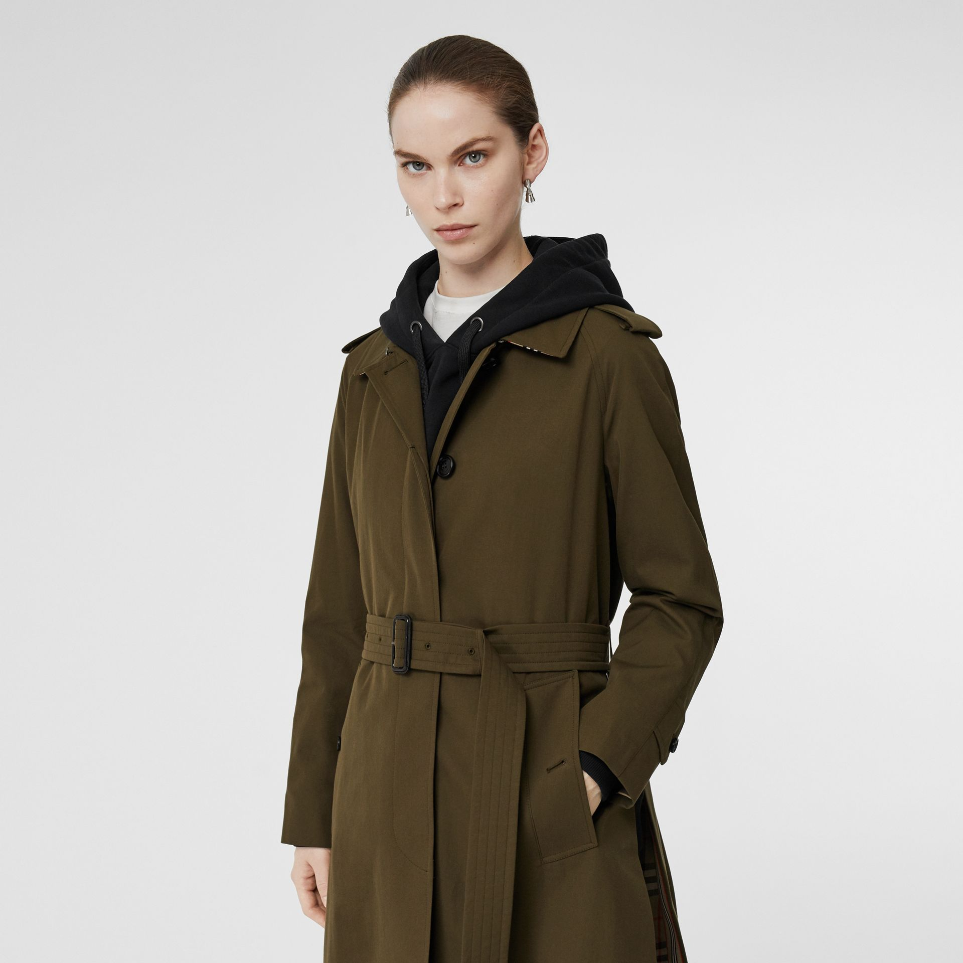 Tropical Gabardine Belted Car Coat in Dark Military Khaki - Women | Burberry - gallery image 5