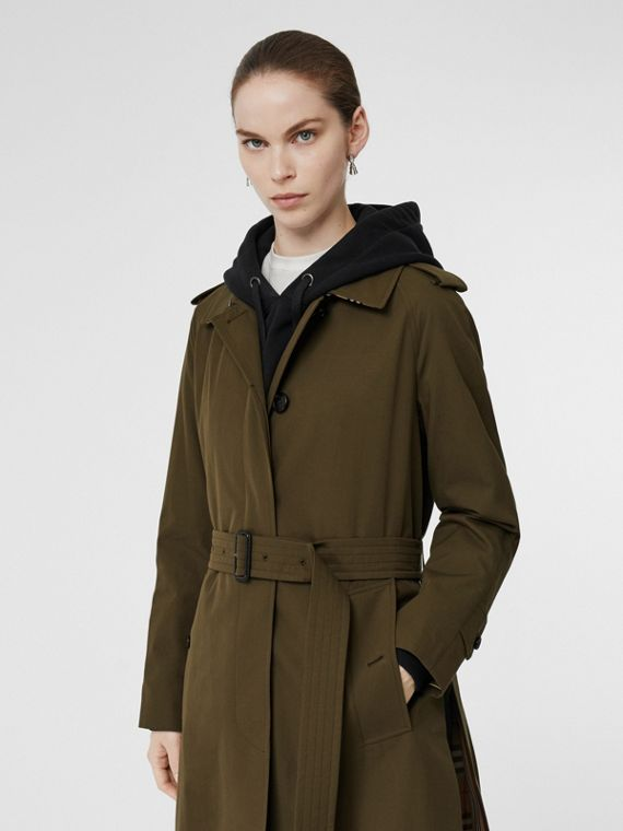 Car coat in gabardine tropicale con cintura (Cachi Militare Scuro)