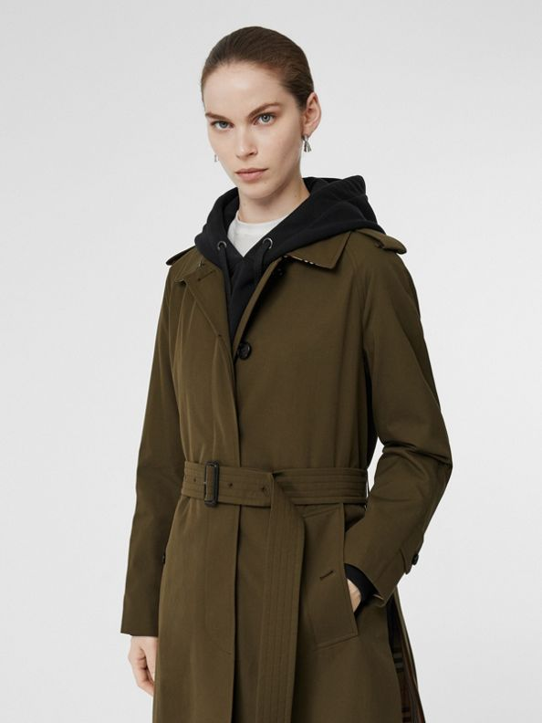 Tropical Gabardine Belted Car Coat in Dark Military Khaki