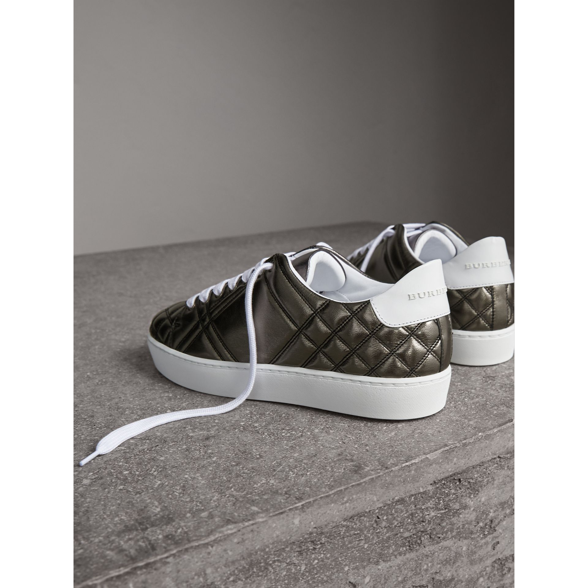 Metallic Check-quilted Leather Sneakers in Dark Nickel - Women | Burberry Australia - gallery image 3