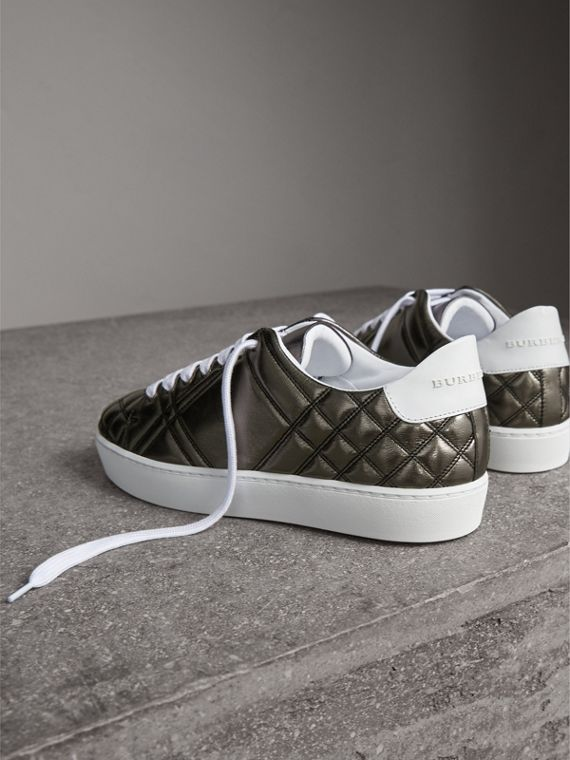 Metallic Check-quilted Leather Sneakers in Dark Nickel - Women | Burberry Australia - cell image 3