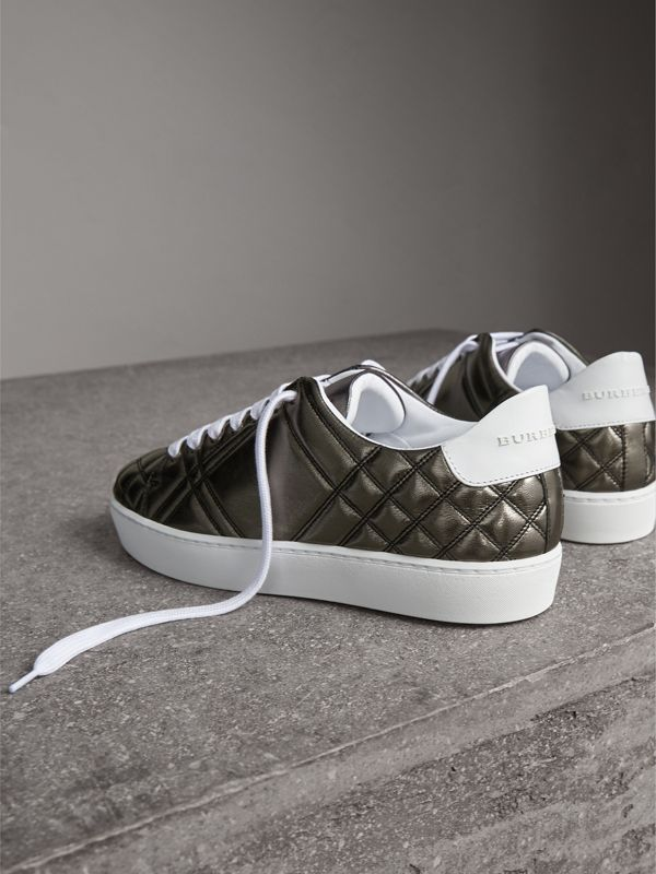 Metallic Check-quilted Leather Sneakers in Dark Nickel - Women | Burberry - cell image 3
