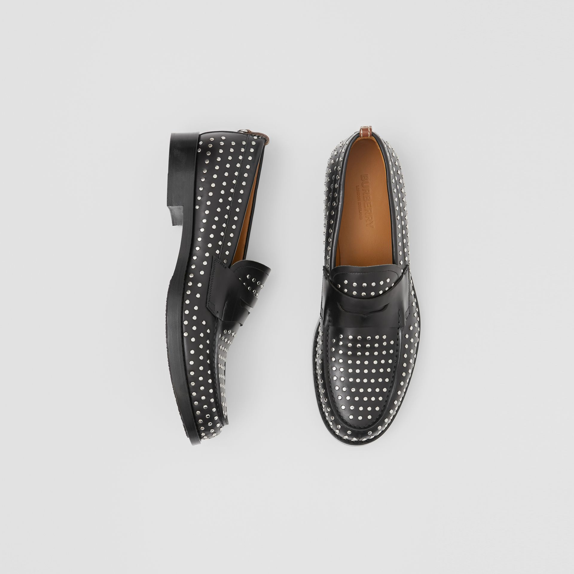 D-ring Detail Studded Leather Loafers in Black - Men | Burberry - gallery image 0