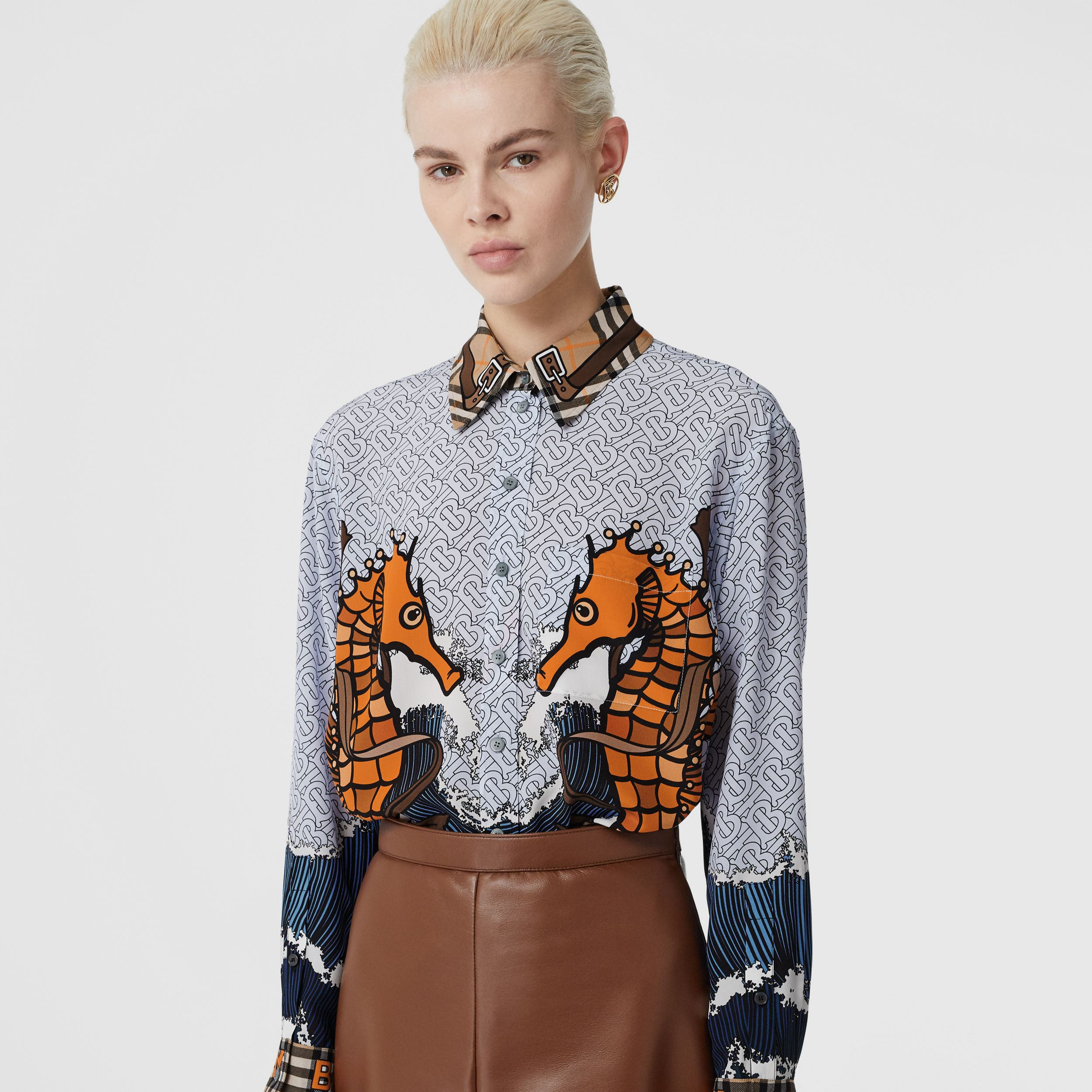 Seahorse and Monogram Print Silk Shirt in Baby Blue - Women | Burberry - 2