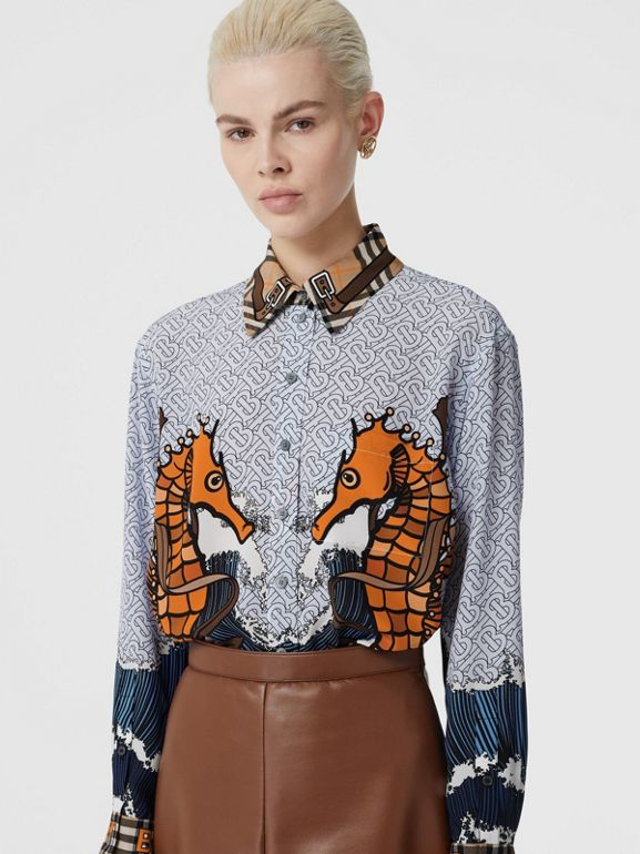 Seahorse and Monogram Print Silk Shirt in Baby Blue - Women | Burberry - cell image 1