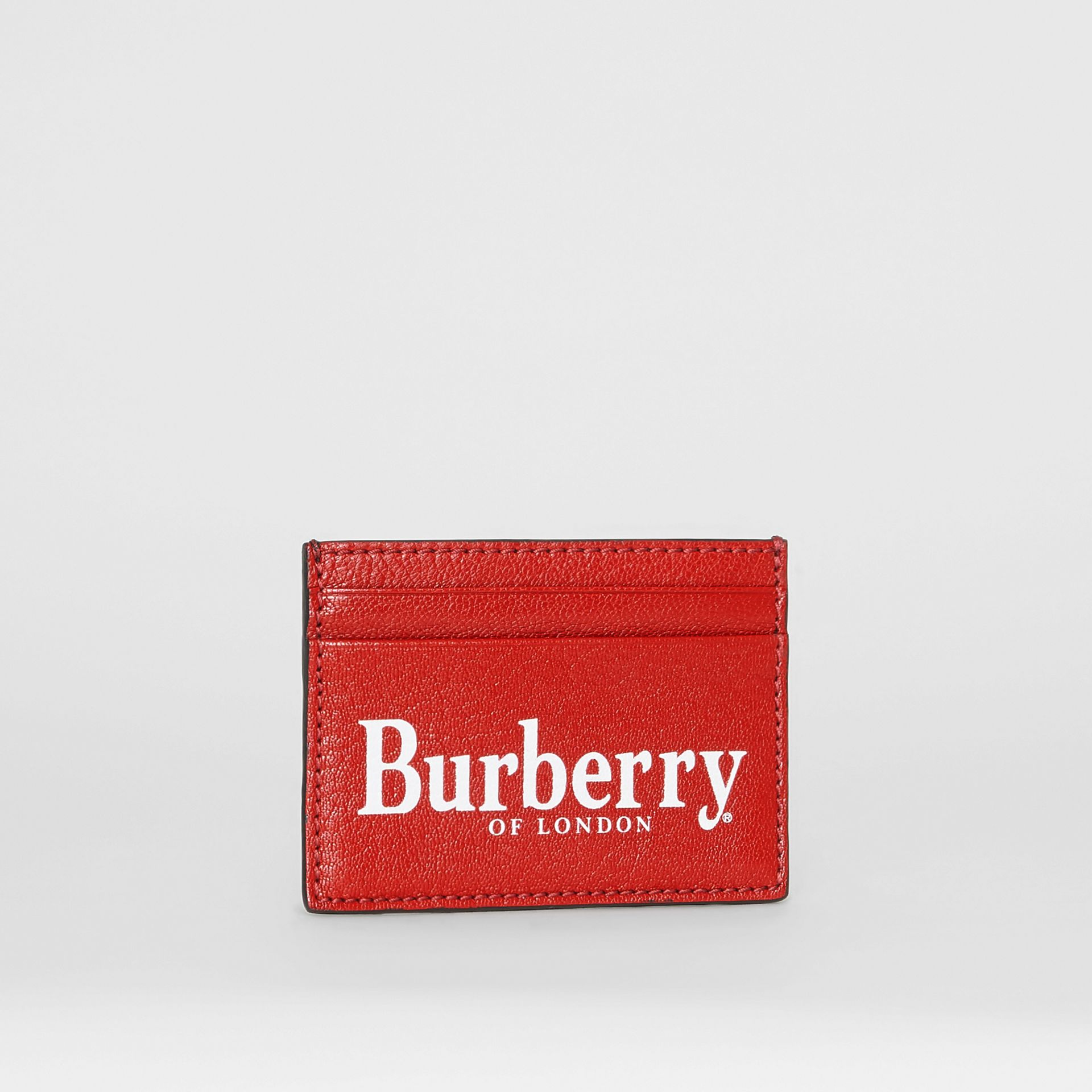 Logo Print Leather Card Case in Rust Red/black | Burberry - gallery image 3