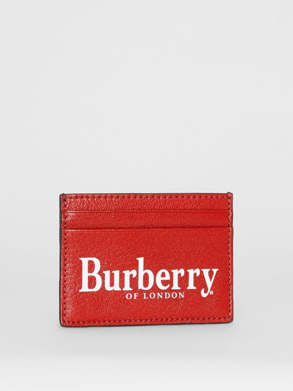 Logo Print Leather Card Case in Rust Red/black | Burberry - cell image 3