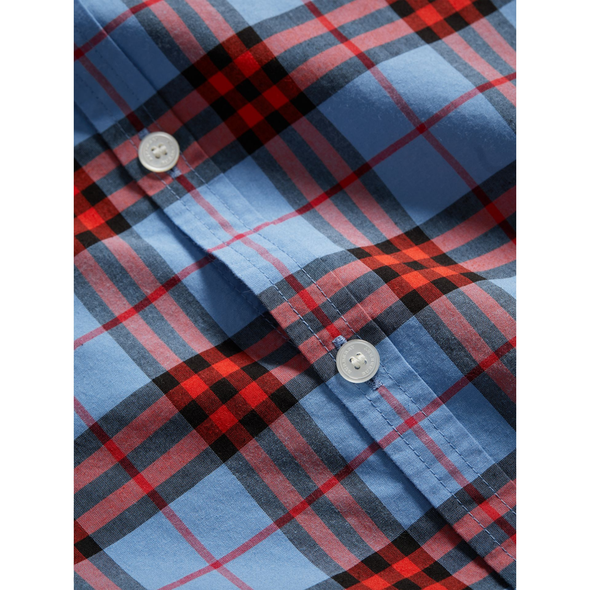Short-sleeve Check Cotton Shirt in Cornflower Blue - Boy | Burberry - gallery image 1