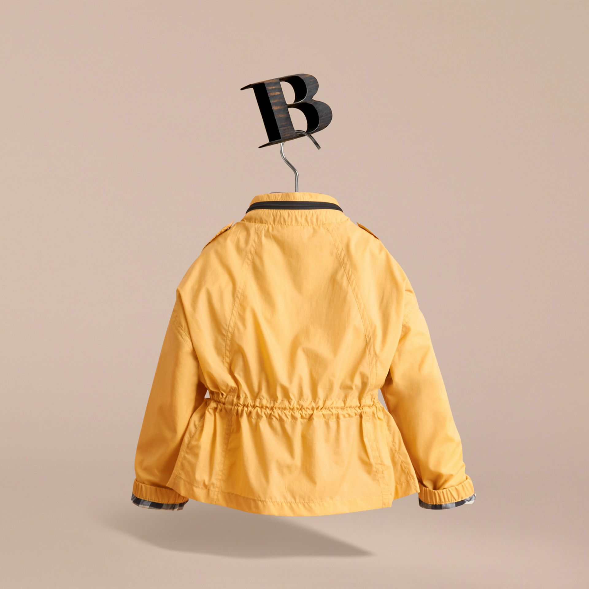 Packaway Hood Showerproof Jacket with Check Detail in Gorse Yellow - Girl | Burberry - gallery image 4