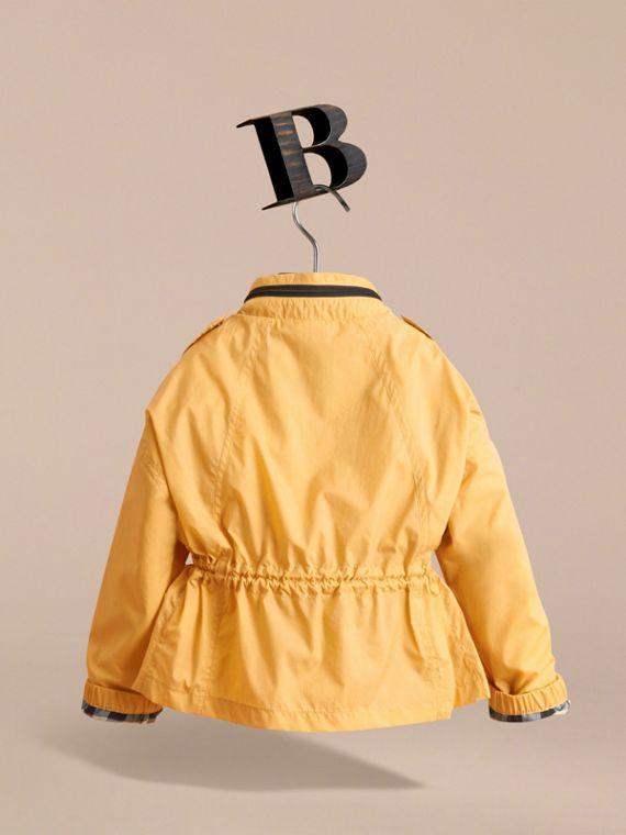 Packaway Hood Showerproof Jacket with Check Detail in Gorse Yellow | Burberry - cell image 3