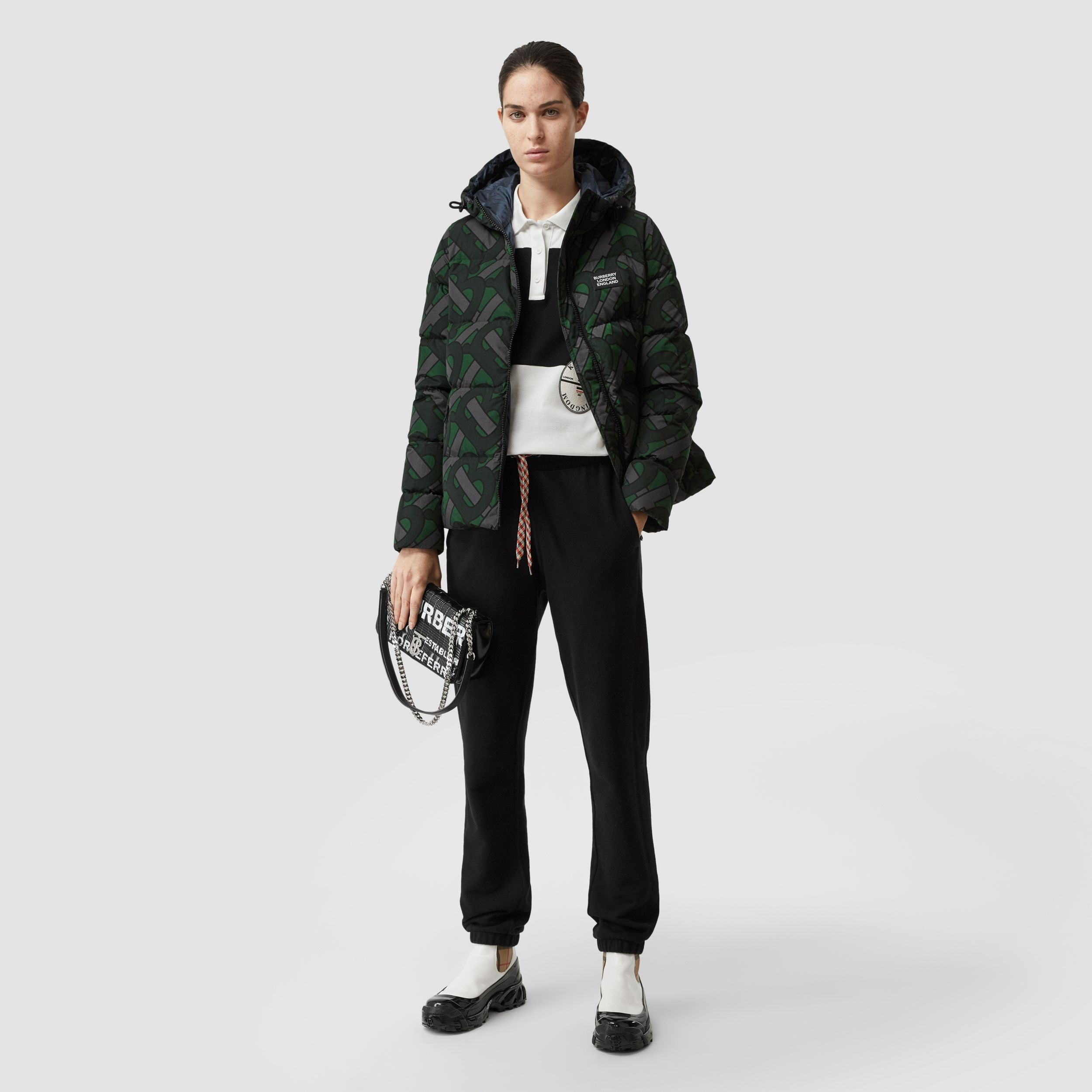 Monogram Print Puffer Jacket in Forest Green | Burberry - 3