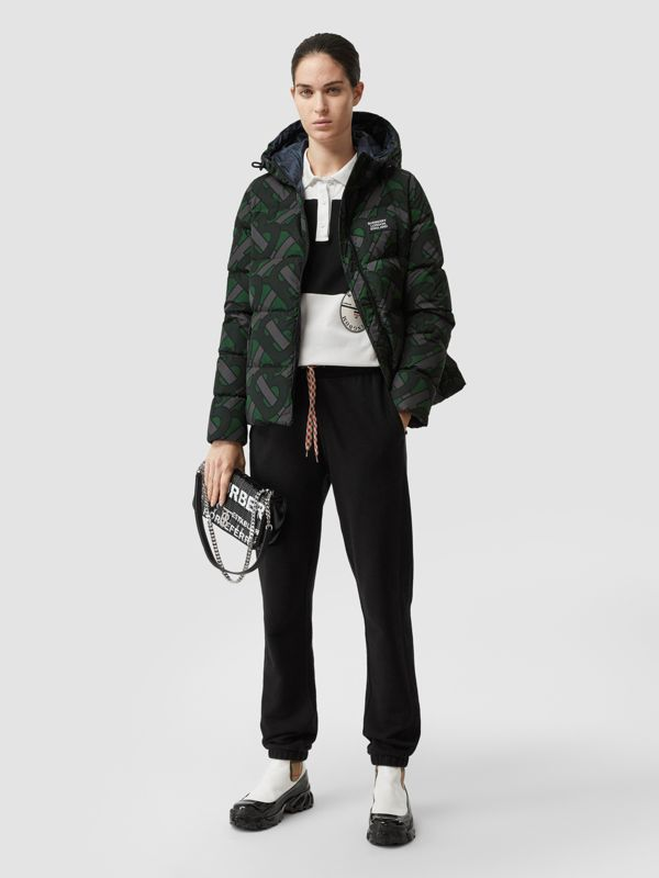 Monogram Print Puffer Jacket in Forest Green | Burberry - cell image 2