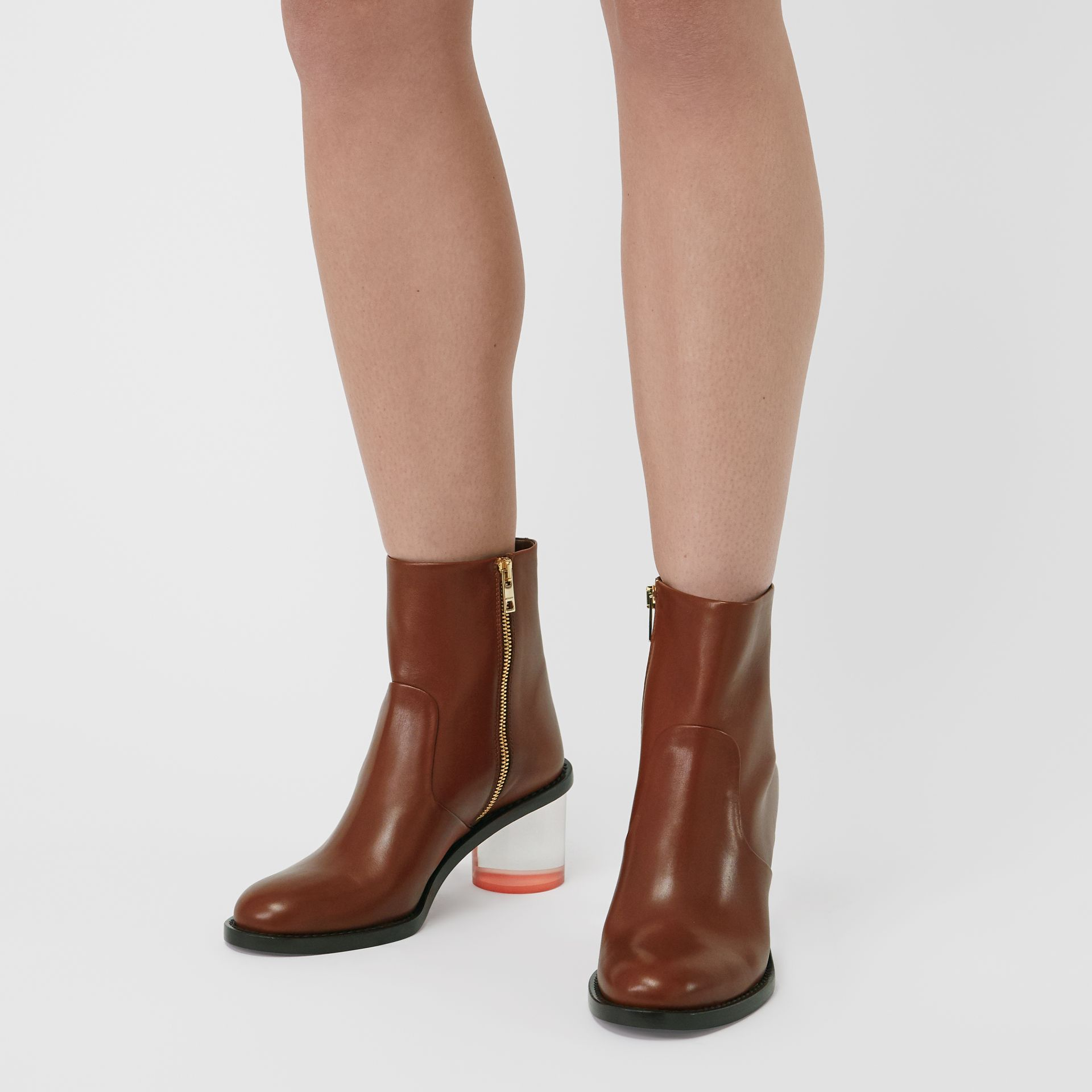 Two-tone Leather Block-heel Boots in Cognac - Women | Burberry United Kingdom - gallery image 2