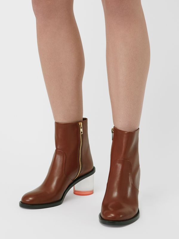 Two-tone Leather Block-heel Boots in Cognac - Women | Burberry United Kingdom - cell image 2