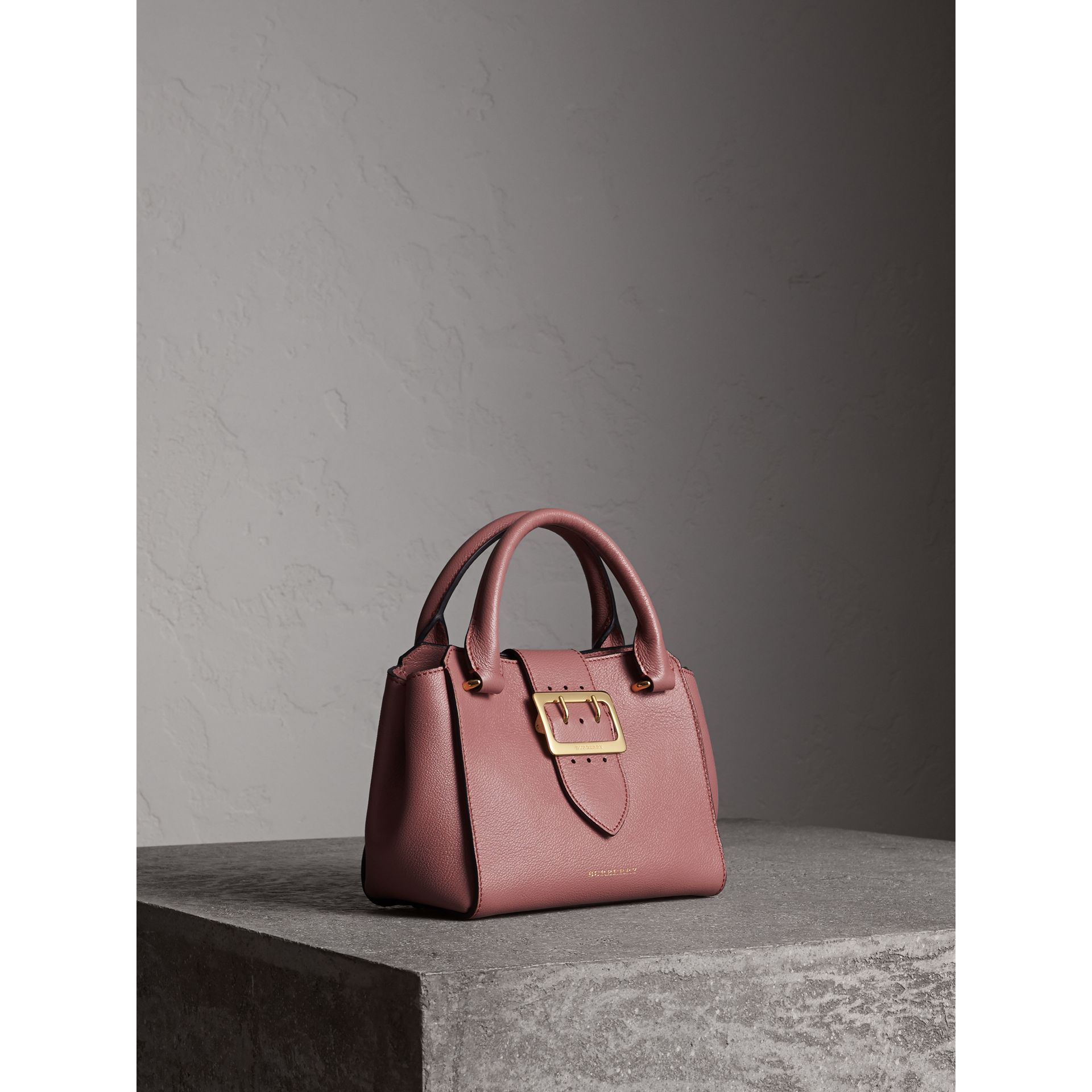 The Small Buckle Tote in Grainy Leather in Dusty Pink - gallery image 8