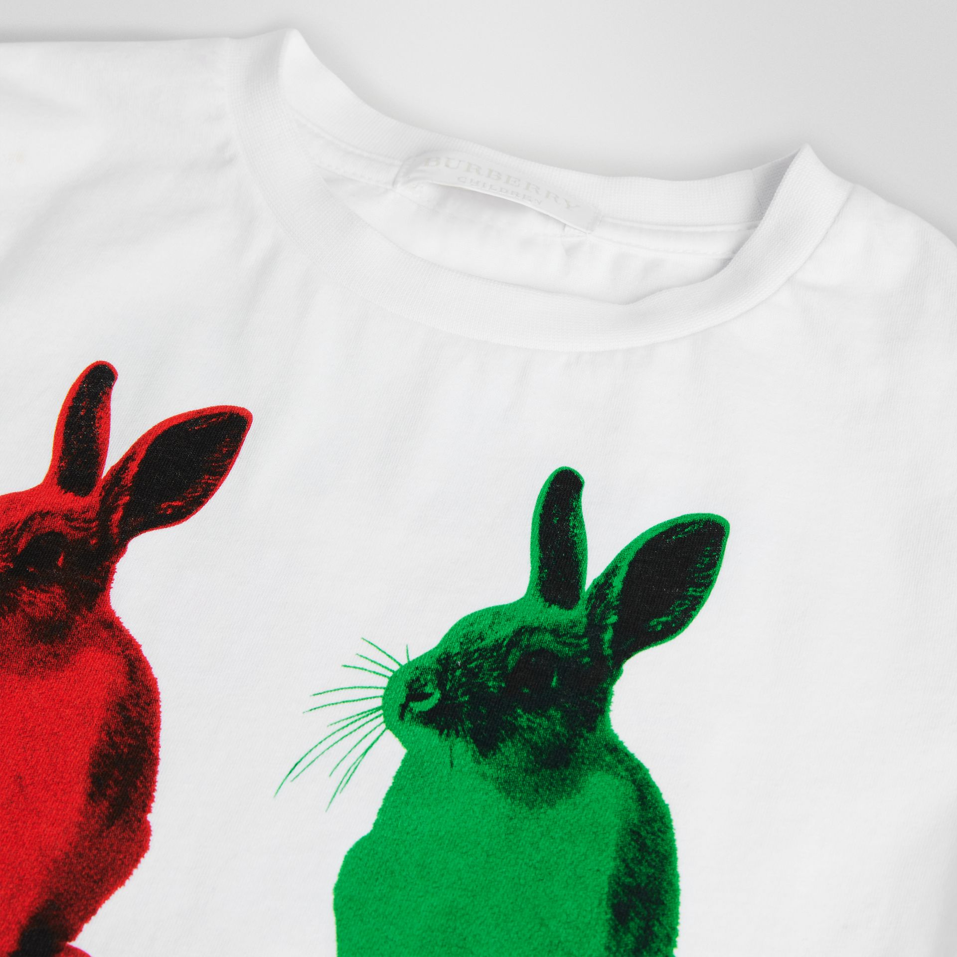 Rabbit Print Cotton T-shirt in White | Burberry United States - gallery image 1