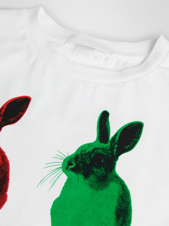 Rabbit Print Cotton T-shirt in White | Burberry United States - cell image 1